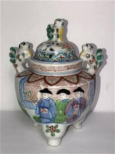 Vintage incense Foo Dog Lion burner censer porcelain