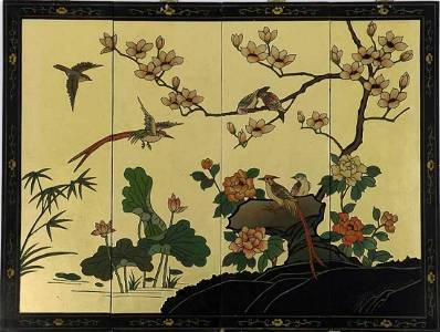 Oriental Panel In lacquered wood