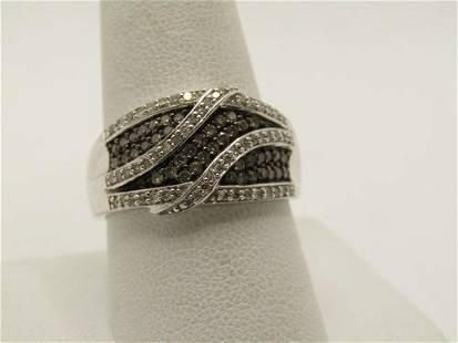 10kt Clear & Cognac Diamond Cigar Band Ring, Sz. 10.