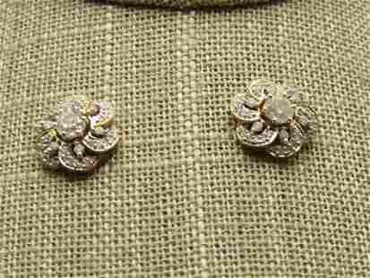 14kt Floral Diamond Stud/Jacket Pierced Earrings, 1CTW