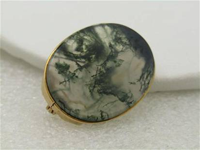 """Victorian 14kt Dendritic Oval Brooch, 1"""" Oval, C-Clasp"""