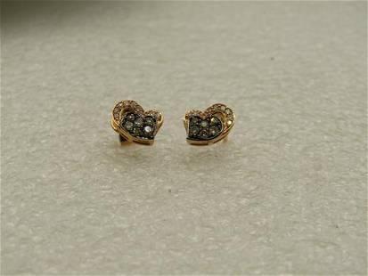 14KT Levian Cognac & White Diamond Heart Earrings,