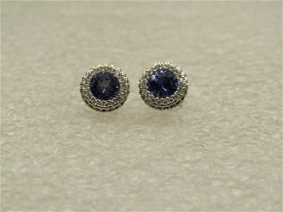 14kt 5mm Tanzanite Diamond Halo Earrings, 8mm Round,