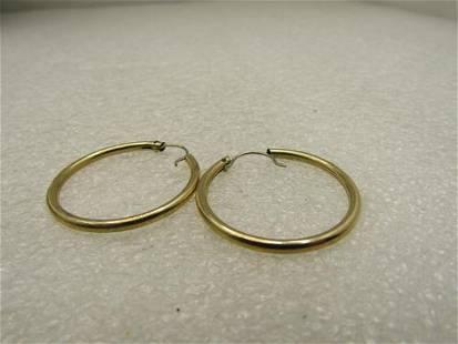"""Vintage 10kt Yellow Gold Hoop Earrings, 1"""", 2mm"""