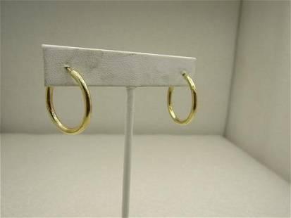 """14kt Gold 1"""" Hoop Signed Earrings, Pierced, Solid"""