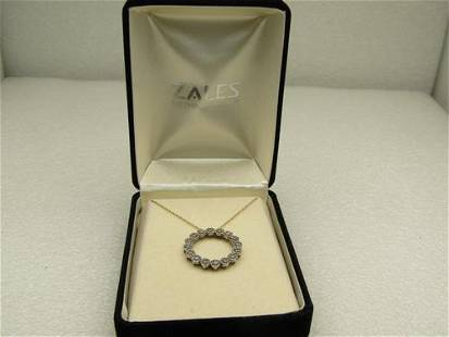 10kt Diamond Floral Blossom Circle Necklace, Singed