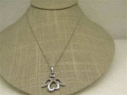 14kt Jane Seymour Open Hearts Diamond Angel Necklace,