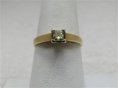 Vintage 14kt .33CTW Square Cut Diamond Engagement Ring,