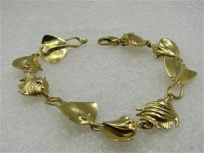 "Vintage 14kt Seashell, Fish, Stingray Bracelet, 7.5"","