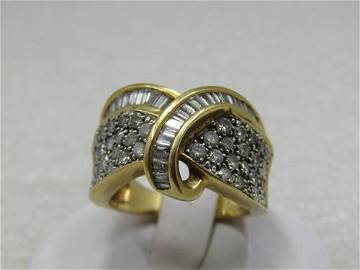 Vintage 18kt Wide  Micro Diamond Ring, Baguettes &