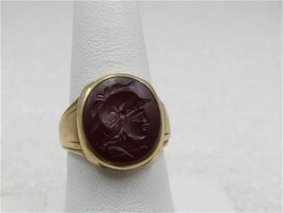 Vintage 10kt Men's Carnelian Intaglio Ring, Roman