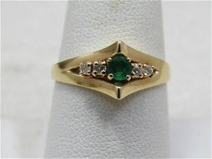 Vintage 14kt Emerald Diamond Ring, Sz. 8.75. Signed IJS