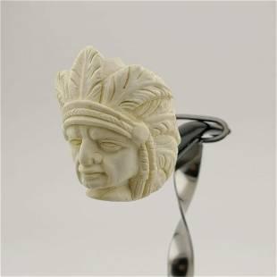Native American Indian Chief,Meerschaum Pipe