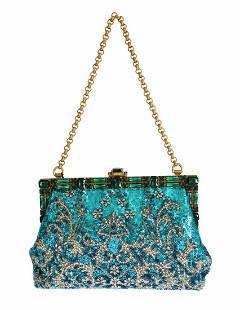 Dolce & Gabbana Blue Clear Crystal Gold Evening Clutch