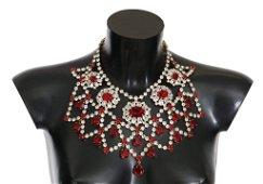 Dolce & Gabbana Red and White Crystal Filigree Bib