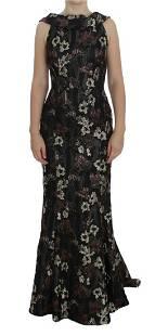 Dolce & Gabbana Black Floral Jacquard Gown