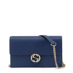 Gucci BLUE Gold Tone Hardware Crossbody Bag