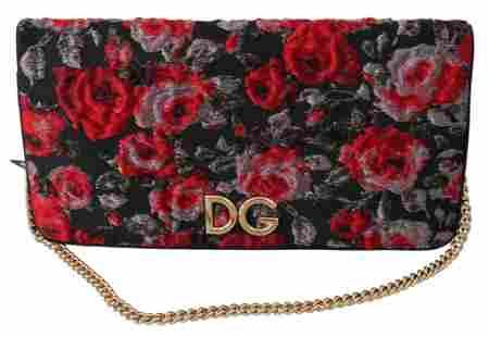 Dolce & Gabbana Black Roses Jacquard Clutch Shoulder
