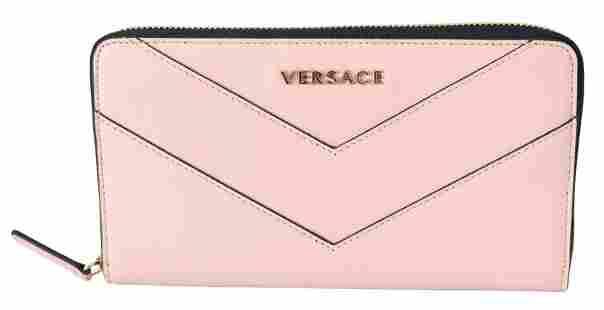 Versace Zip Around Pink Leather Long Wallet