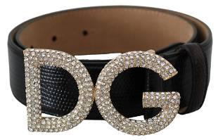 Dolce & Gabbana DG Crystal Black Leather Belt