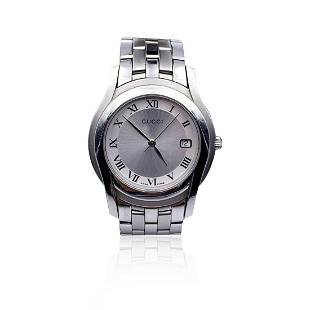 Gucci Silver Stainless Steel Mod 5500 M Wrist Watch