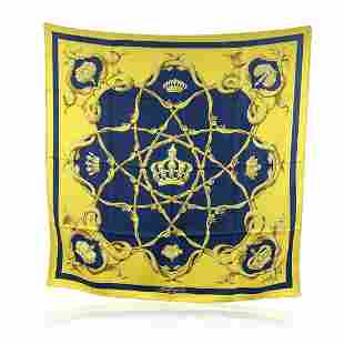Hermes Vintage Yellow and Blue Silk Scarf Couronnes