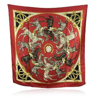 Hermes Vintage Red Silk Scarf Ascots 1831 Francoise De