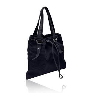 Yves Saint Laurent Black Canvas Logo Kahala Tote