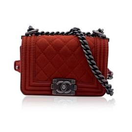 Chanel Red Quilted Caviar Leather Mini Boy Shoulder Bag