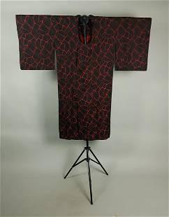 RED BLACK SATIN SILK KIMONO