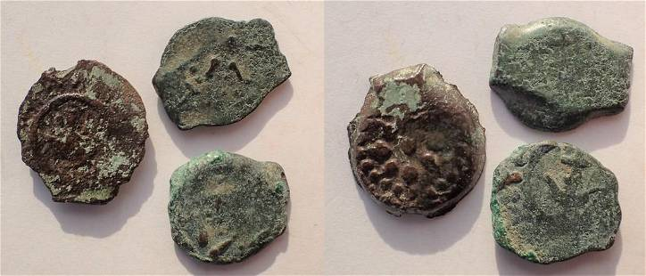 Lot of three Widow's mites from the time of Jesus.