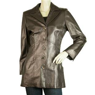 Roberto Cavalli Shiny Brown Leather Long Jacket size S