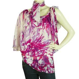 Just Cavalli Floral 100% Silk Purple One Shoulder Top