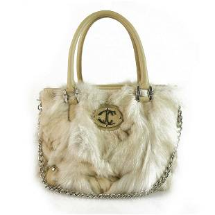 Just Cavalli Beige Genuine Fur & Leather Grab Bag
