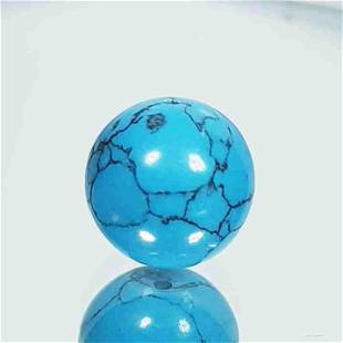 6.90 ct 10mm Round Drilled Natural Turquoise