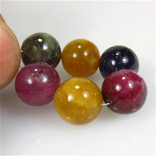 47.71 Ct Natural 6 Drilled Multicolor Sapphire Ball