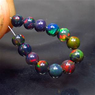 4.01 Ct Natural 13 Drilled Black Fire Opal Ball Beads