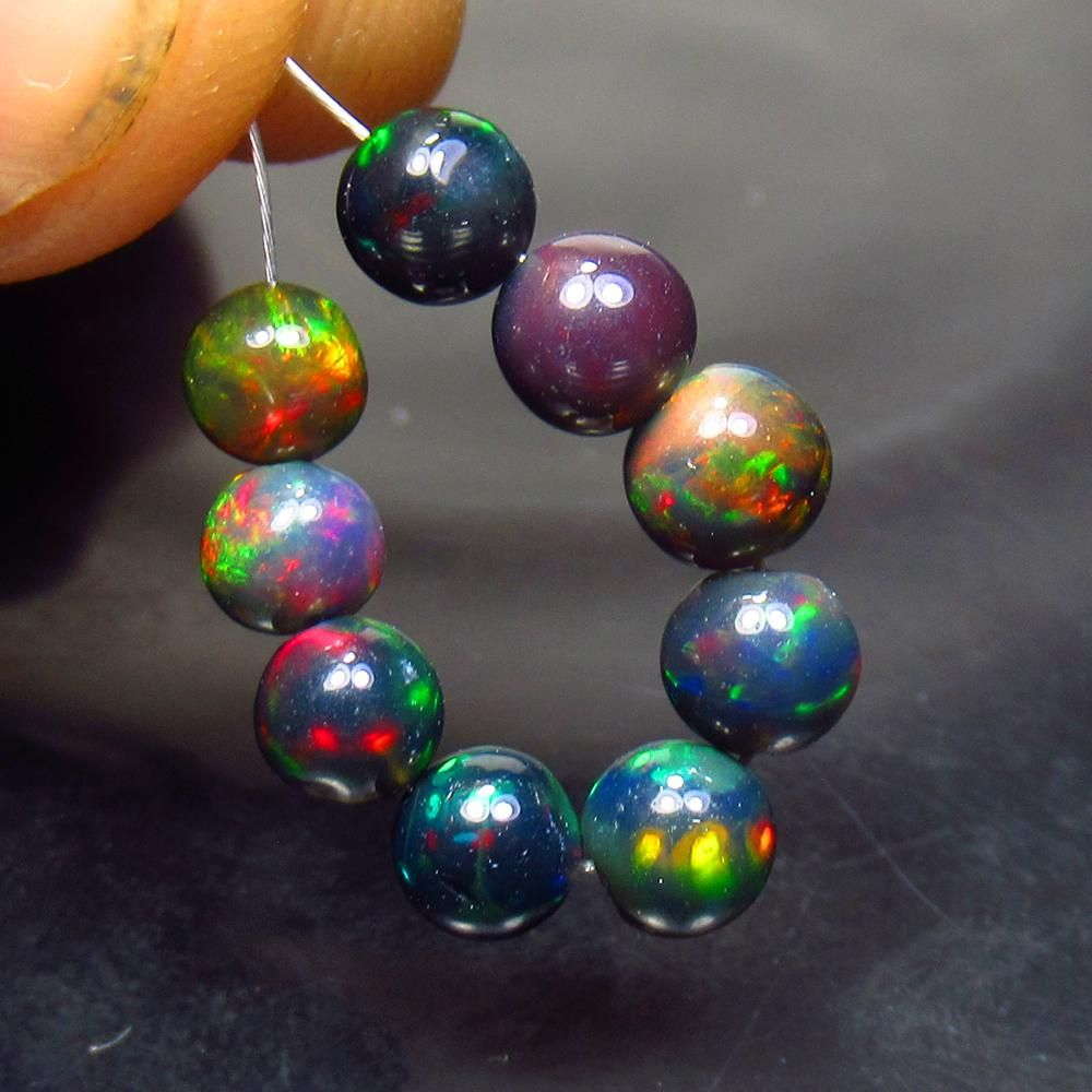 3.96 Ct Natural 9 Drilled Black Fire Opal Ball Beads
