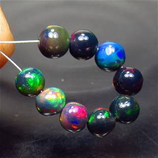 4.47 Ct Natural 9 Drilled Black Fire Opal Ball Beads