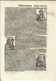 1493 Nuremberg Chronicle Leaf Illustrated Rubricated