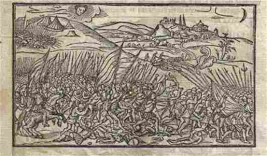 1577 Leaf Holinshed Scotland Woodcut of Battles