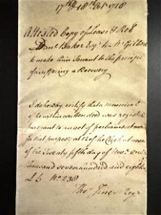 1770 English Manuscript London Vinegar Yard