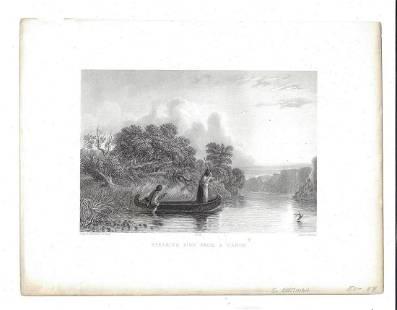 1855 Steel Engraving Seth Eastman Spearing Fish