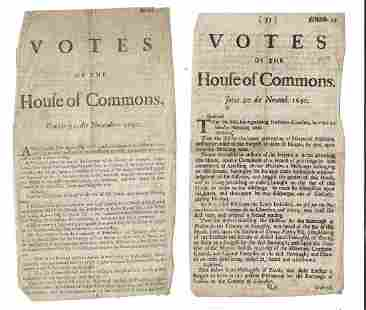 1690 Two Issues Votes of House of Commons