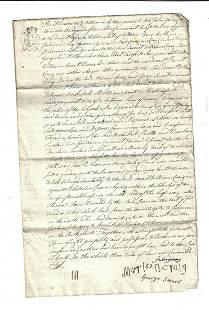 1745 Scottish Manuscript Disposition Signed