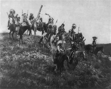 "1907, ""OGLALA WAR PARTY""; EDWARD CURTIS"