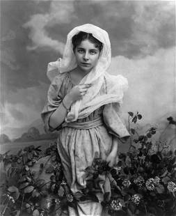 """1897, """"GIRL AND FLOWERS"""""""