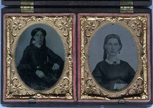 "1860 RARE ""DOUBLE 9'TH PLATE DAGUERROTYPE CASE W/ 2"