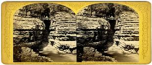 1870, STEREOVIEW_CHASM AT PORT KENT ON CHAMPLAIN, BY