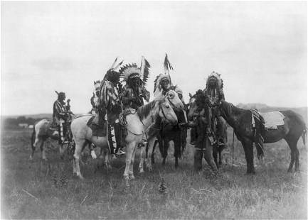 """""""THE PARLEY"""", (DAKOTA INDIANS); BY EDWARD S. CURTIS"""